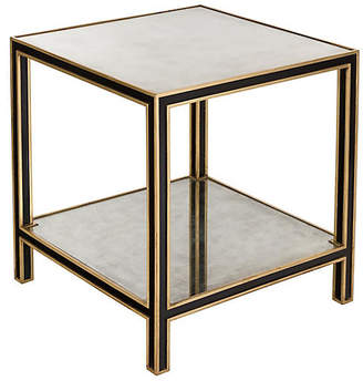One Kings Lane Cambria Mirrored Side Table - Black/Gold