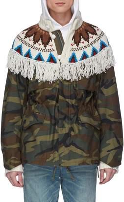 Sacai Graphic intarsia knit fringe yoke camouflage print jacket