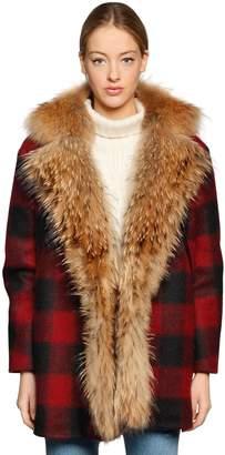 Blend of America Aspen Fur & Check Wool Coat