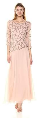 J Kara Women's 3/4 Sleeve Geo Design Long Beaded Gown