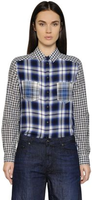 Patchwork Check Cotton Flannel Shirt $183 thestylecure.com