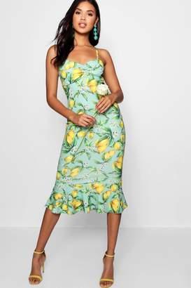 boohoo Lemon Print Ruched Front Fluted Midi Dress
