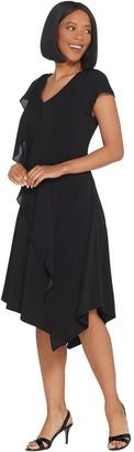 Halston H By H by Regular Jet Set Jersey Mixed Media Midi Dress