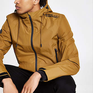 River Island Superdry yellow lightweight hooded jacket