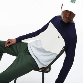 Lacoste Men's Crew Neck Colorblock Pique Fleece Sweatshirt