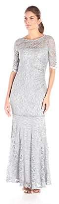 Xscape Evenings Women's Long Side Ruch Long Sleeve Lace Gown,6