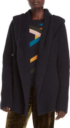 Roberto Collina Navy Hooded Wool Jacket
