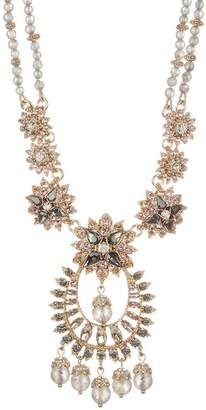 Marchesa Drama Crystal Beaded Statement Pendant Necklace