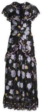 Alice McCall Embroidered Ruffle Midi Dress
