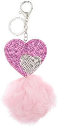 Capelli New York Crystal Pompom Heart Key Ring