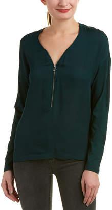 The Kooples Sport Zipper Silk Top