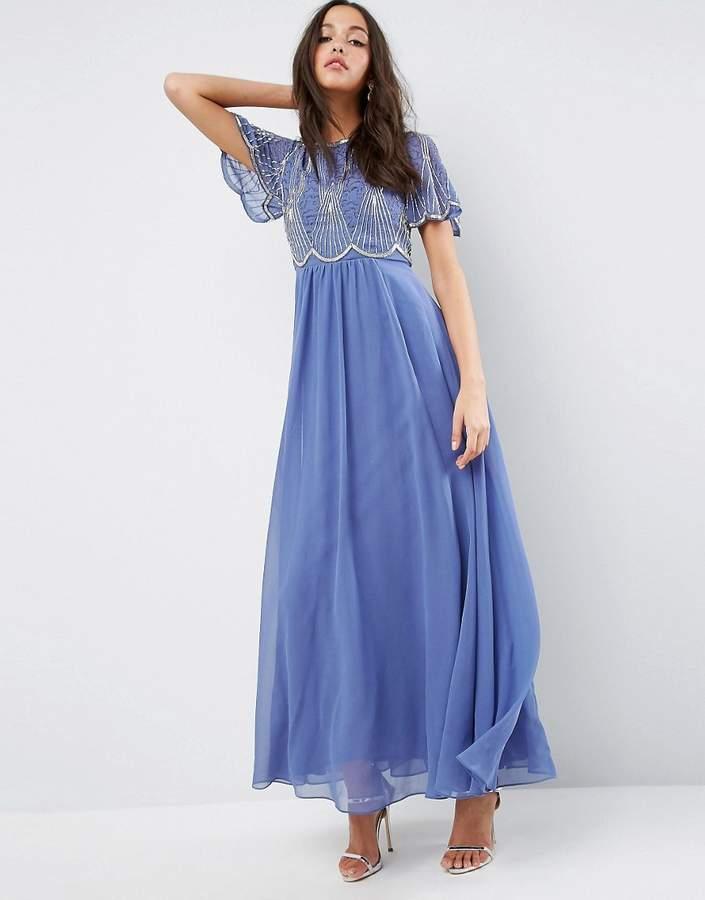 AsosASOS Embellished Bodice Maxi Dress with Scallop Sleeve