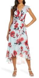 Julia Jordan Floral Ruffle High/Low Wrap Dress
