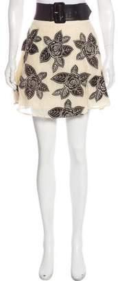 Alice + Olivia Embroidered Mini Skirt
