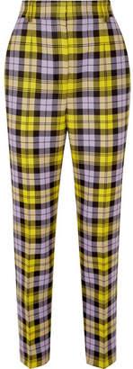 Versace Checked Woven Straight-leg Pants - Yellow