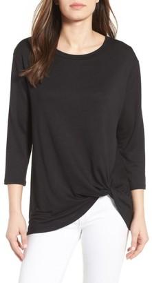 Petite Women's Bobeau Twist Hem Sweatshirt $42 thestylecure.com