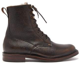 Shearling Lined Grained Leather Boots - Mens - Brown