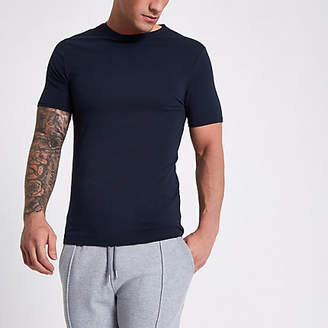 River Island Mens Navy muscle fit crew neck T-shirt