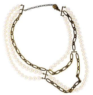 Lanvin Asymmetrical Faux Pearl & Chain Necklace