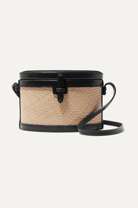 Hunting Season Trunk Mini Raffia And Leather Shoulder Bag - Black