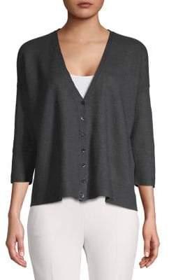 Eileen Fisher Classic Linen Buttoned Cardigan