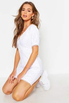 boohoo Lace Trim Linen Puff Sleeve Mini Dress