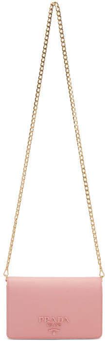 Prada Pink Saffiano Logo Fold Over Shoulder Bag