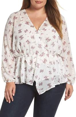 1 STATE 1.STATE Ditsy Wrap Front Blouse