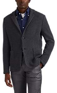 Luciano Barbera Men's Zigzag Wool-Blend Sweater Jacket - Charcoal