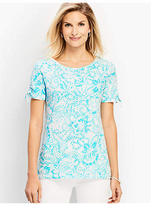 Talbots Dotted Floral Ruched-Sleeve Tee
