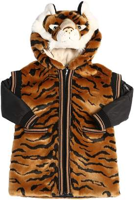Dolce & Gabbana Tiger Hooded Faux Fur Coat