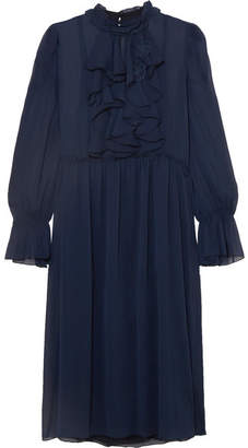 See by Chloe Ruffle-trimmed Embroidered Chiffon Dress - Navy