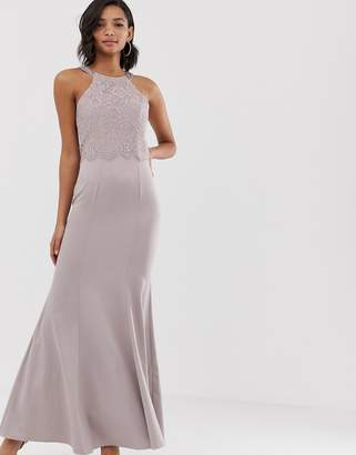 Little Mistress ruffle detail and exposed back 2 in 1 sheath maxi dress