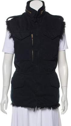 R 13 Fur-Lined Leather Zip-Up Vest