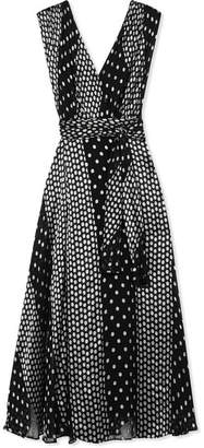 Diane von Furstenberg Draped Polka-dot Silk-blend Chiffon Maxi Dress - Black