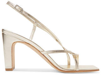 BY FAR - Carrie Metallic Leather Slingback Sandals