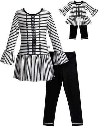 Dollie & Me Girls 4-14 Striped Tunic Top, Leggings & Purse Set