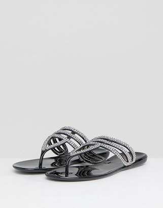 Nika Raid Black Embellished Toe Post Sandals