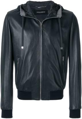 Dolce & Gabbana hooded leather bomber jacket