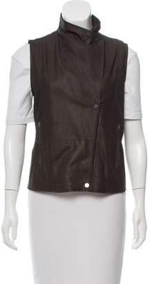 Vince Leather Zip-Up Vest