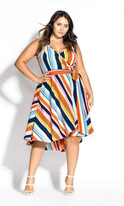 City Chic Citychic Freedom Stripe Dress - navy