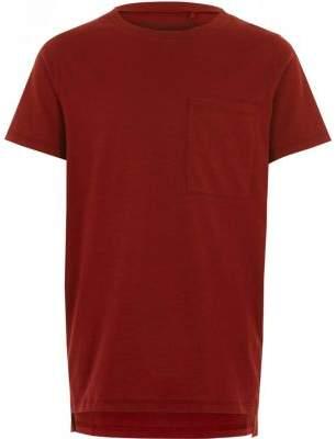 River Island Boys red stepped hem T-shirt