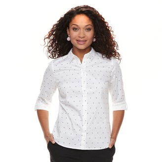 6e69e24d644cd2 Apt. 9 Petite Poplin Structured Essential Button-Down Shirt