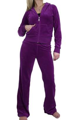 Ice 6327-11) Ladies Hooded Velour Lounge Suit Soft Deep (XL)