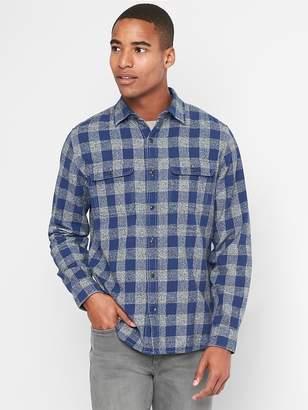 Gap Heathered flannel gingham standard fit shirt