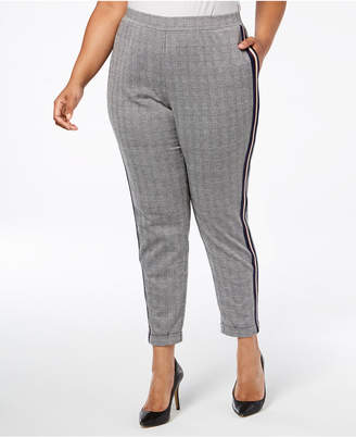 NY Collection Plus Size & Petite Plus Side-Stripe Skinny Pants