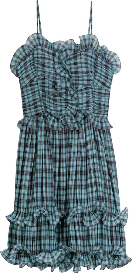 Marc Jacobs Aqua Multi Plaid Pleated Dress