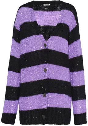 Miu Miu sequin-embellished striped cardigan