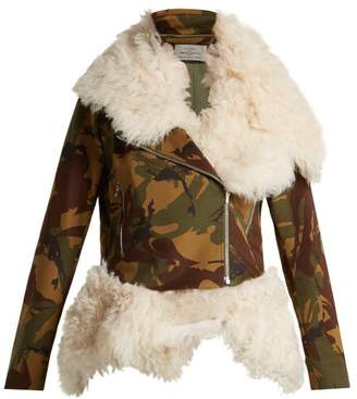 Preen by Thornton Bregazzi Camouflage Print Shearling Biker Jacket - Womens - Multi