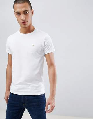 Farah Farris slim fit logo t-shirt in white
